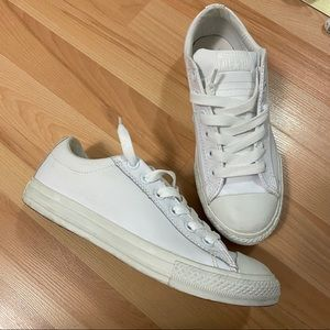 White Leather Converse Sz 6.5 Women's